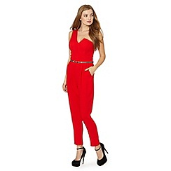 Lipsy - Michelle Keegan loves lipsy red crepe one shoulder jumpsuit