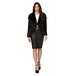 Lipsy - Black faux fur pea jacket