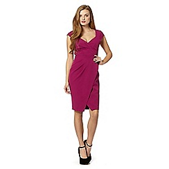 Lipsy - Dark pink pleated wrap front dress