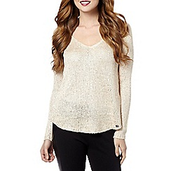 Lipsy - Cream woven back knitted jumper