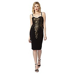 Lipsy - Black embellished foil bodycon dress