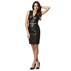 Lipsy - Kardashian Kollection black PU panel belted dress