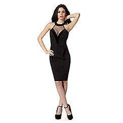 Lipsy - Kardashian Kollection black velvet and mesh insert halter dress