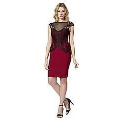 Lipsy - Wine lace mesh shift dress