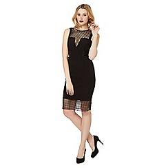 Lipsy - Black checked mesh insert dress