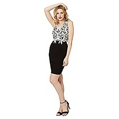 Lipsy - Black applique lace bodice bodycon dress