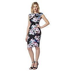 Lipsy - Black tropical floral print scuba shift dress