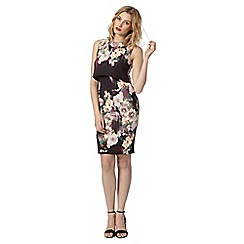Lipsy - Black floral printed scuba mock layer dress