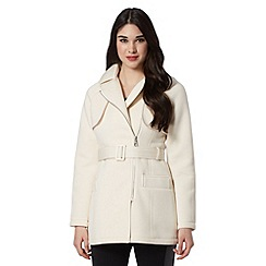 Lipsy - Cream asymmetric zip belted mac coat