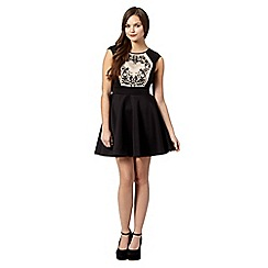 Lipsy - Black mesh lace embroidered dress