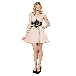 Lipsy - Light pink lace waist skater dress