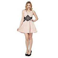 Lipsy - Light pink lace waist skater dress