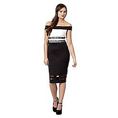 Lipsy - Black lace panel bardot dress