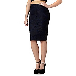 Lipsy - Navy floral lace skirt