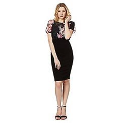 Lipsy - Black sheer floral top bodycon dress
