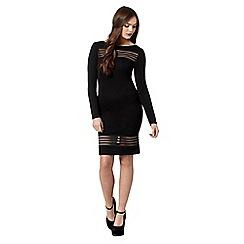 Lipsy - Black mesh striped bodycon dress