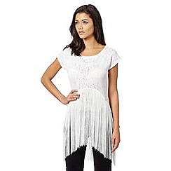 Lipsy - Michelle Keegan loves Lipsy white lace fringed top