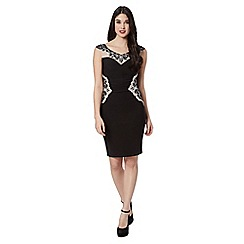 Lipsy - Black embroidered neck shift dress