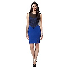Lipsy - Bright blue lace top dress