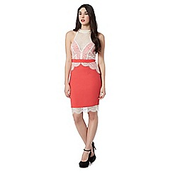 Lipsy - Coral lace halter neck shift dress
