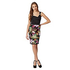 Lipsy - Black asymmetric wrap floral dress