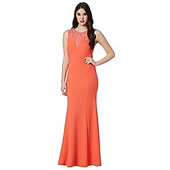 Lipsy - Coral slinky mesh maxi dress
