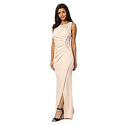 Lipsy - Pale pink ruched embellished mesh insert maxi dress