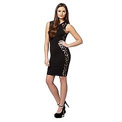 Lipsy - Black PU lace panel dress