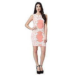 Lipsy - Coral puff print dress