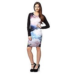 Lipsy - Black printed landscape jersey dress
