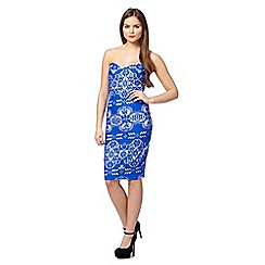 Lipsy - Bright blue bonded lace bodycon dress