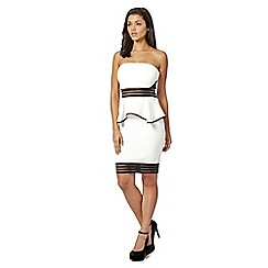 Lipsy - White bandeau peplum dress