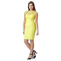 Lipsy - Yellow lace applique dress