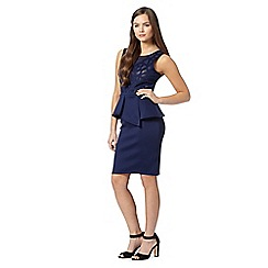 Lipsy - Michelle Keegan loves Lipsy navy cutwork peplum dress