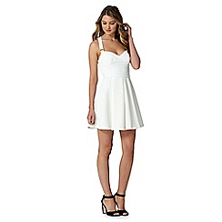 Lipsy - White textured skater dress