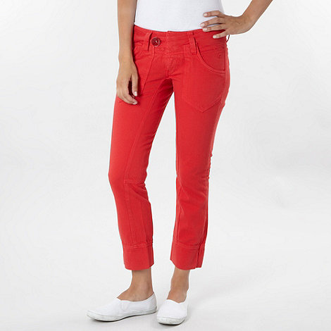 Duck and Cover - Red cropped jeans