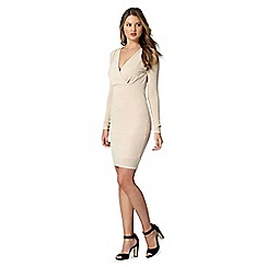 Lipsy - Natural metallic wrap V neck dress