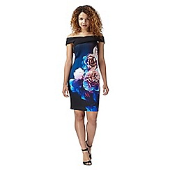 Lipsy - Black rose print bardot dress