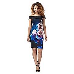 Lipsy - Black rose print bardot dress