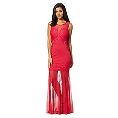 Lipsy - Dark pink lace applique maxi dress