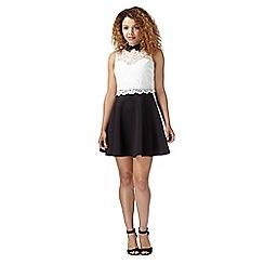 Lipsy - White lace overlay skater dress