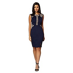 Lipsy - Navy lace placement dress