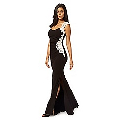 Lipsy - Black lace applique fishtail maxi dress