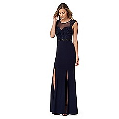 Lipsy - Navy rose mesh maxi dress