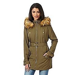 Lipsy - Khaki faux fur trimmed hood parka jacket