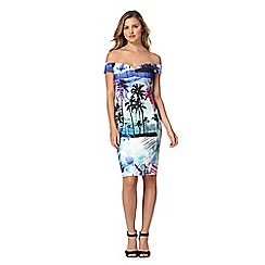 Lipsy - Aqua palm tree print ribbed bardot dress