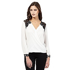Lipsy - Michelle Keegan loves Lipsy white lace shoulder wrap top