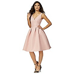 Chi Chi London - Pink 'Drew' v-neck knee length prom dress