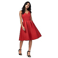 Chi Chi London - Red 'Posy' v-neck knee length prom dress