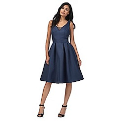 Chi Chi London - Navy 'Binky' v-neck knee length prom dress